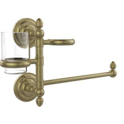 Que New Collection Hair Dryer Holder and Organizer in Antique Brass
