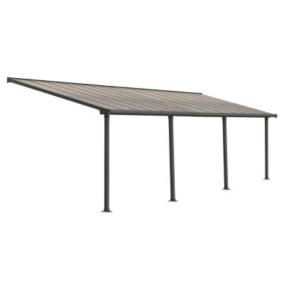 Olympia 10 ft. x 28 ft. Grey/Bronze Patio Cover Awning