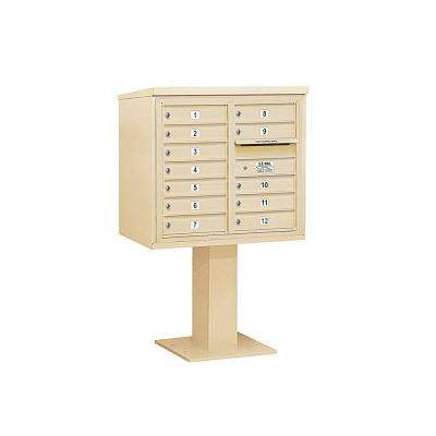 3400 Series 55-1/8 in. 7 Door High Unit Sandstone 4C Pedestal Mailbox with 12 MB1 Doors