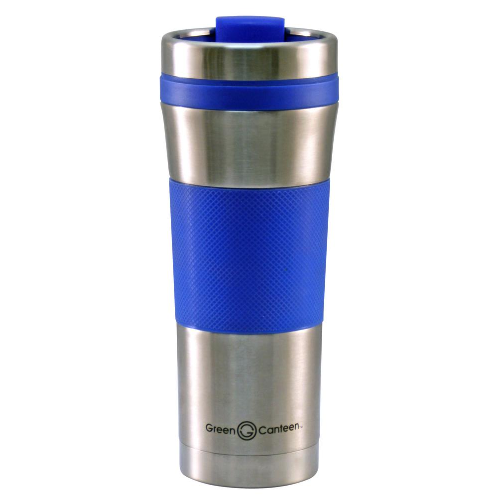 16 oz. Stainless Steel Double Wall Travel Mug with Blue Wrap