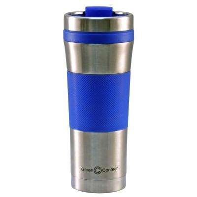 16 oz. Stainless Steel Double Wall Travel Mug with Blue Wrap (6-Pack)