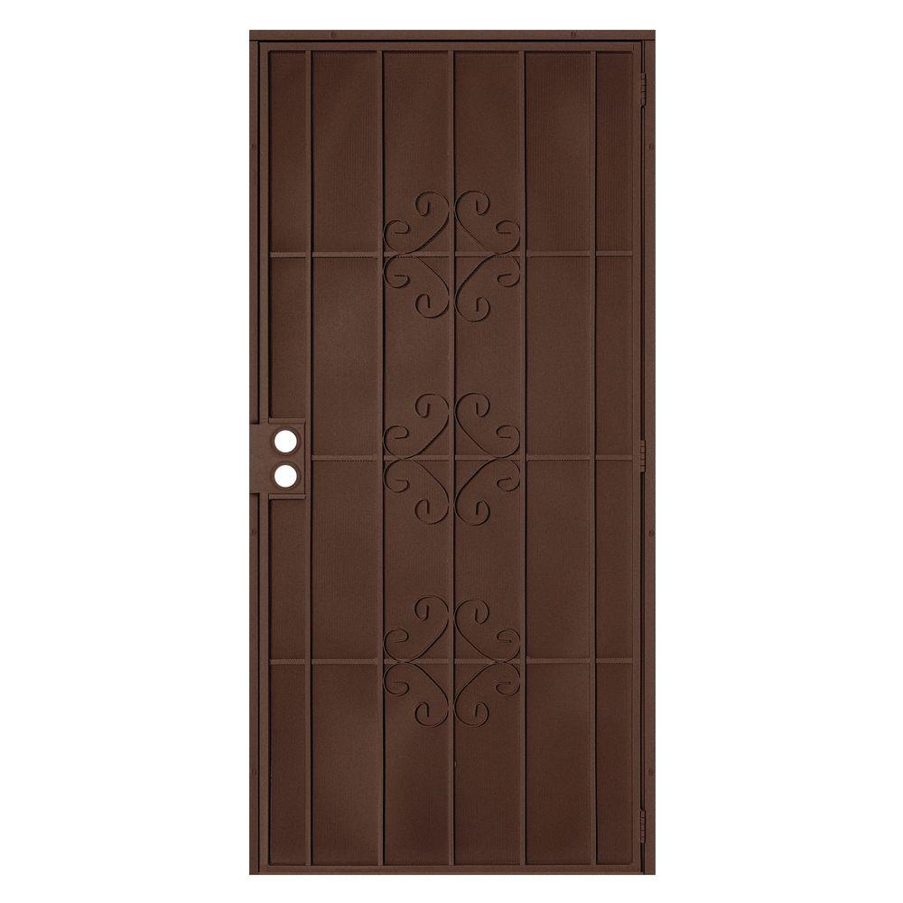unique home designs 32 in x 80 in del flor copper surface mount outswing steel security door. Black Bedroom Furniture Sets. Home Design Ideas
