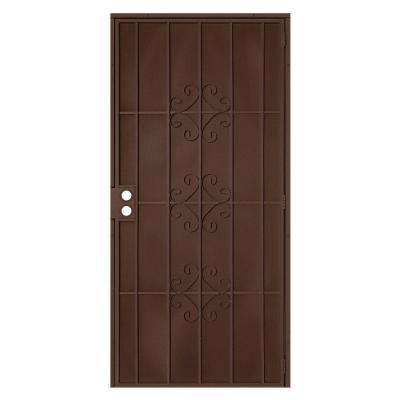 36 in. x 80 in. Del Flor Copper Surface Mount Outswing Steel Security Door with Expanded Metal Screen