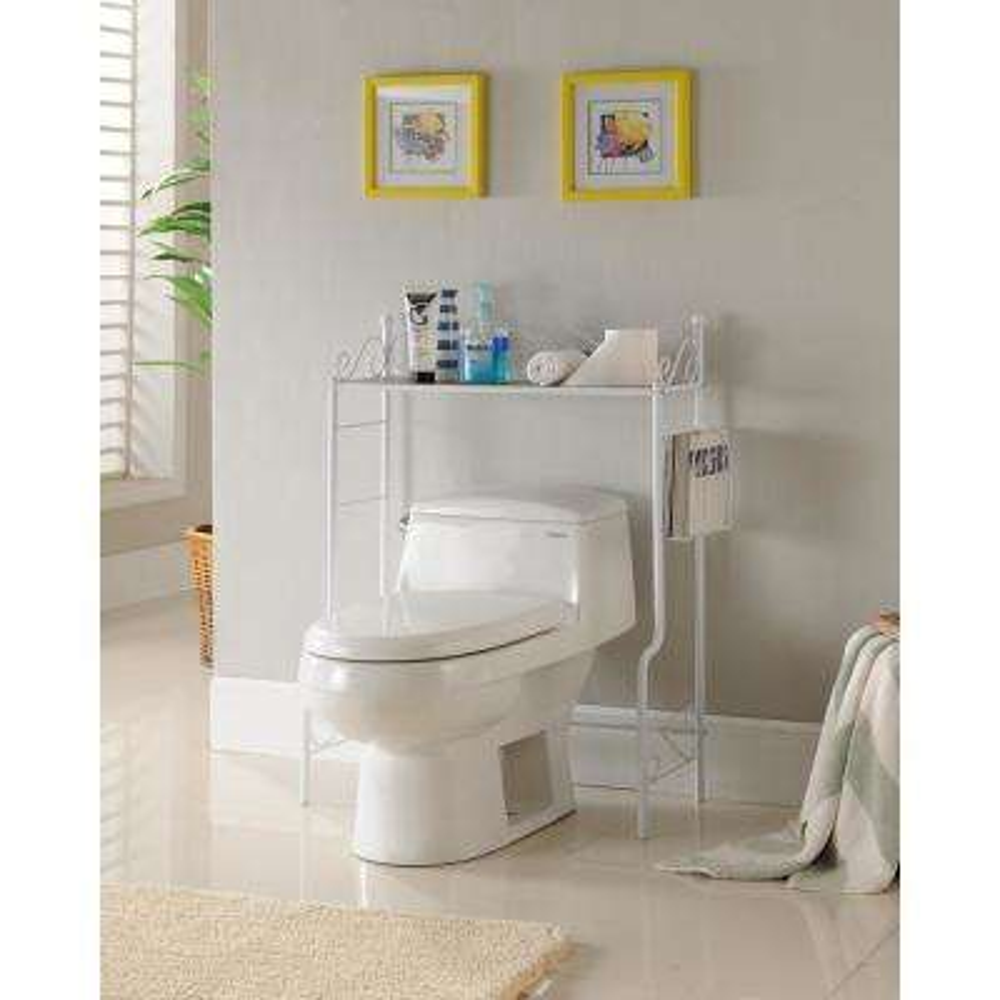 White Freestanding Etagere Bathroom Shelf Storage Organizer Rack