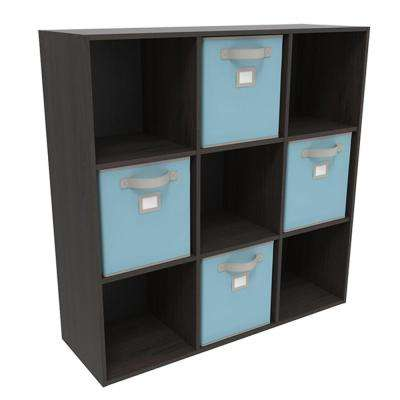 36 in. x 36 in. Espresso Stackable 9-Cube Organizers with 4 Light Blue Bins