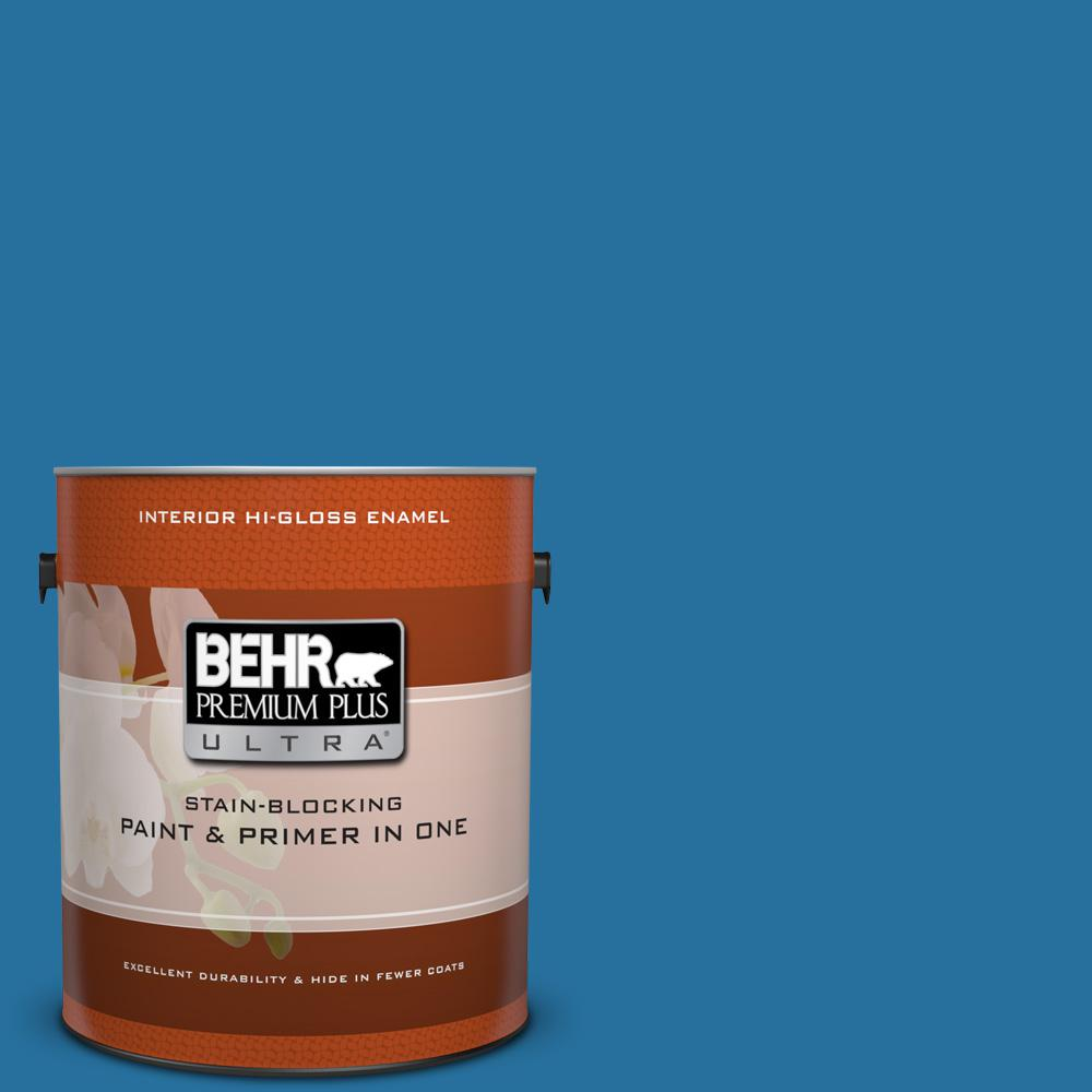 1 gal. #550B-7 Blue Ocean Hi-Gloss Enamel Interior Paint