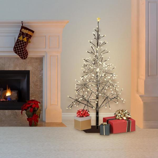 Alpine Corporation 53 In Tall Indoor Outdoor Artificial Christmas Tree With Led Lights Silver Crd111s Sl The Home Depot