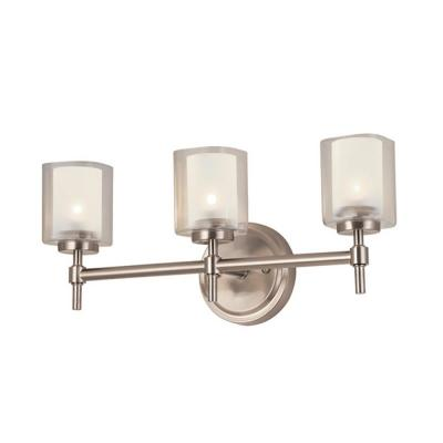 Luna 18.5 in 3 Light Brushed Nickel Vanity Light with Dual Glass Shades