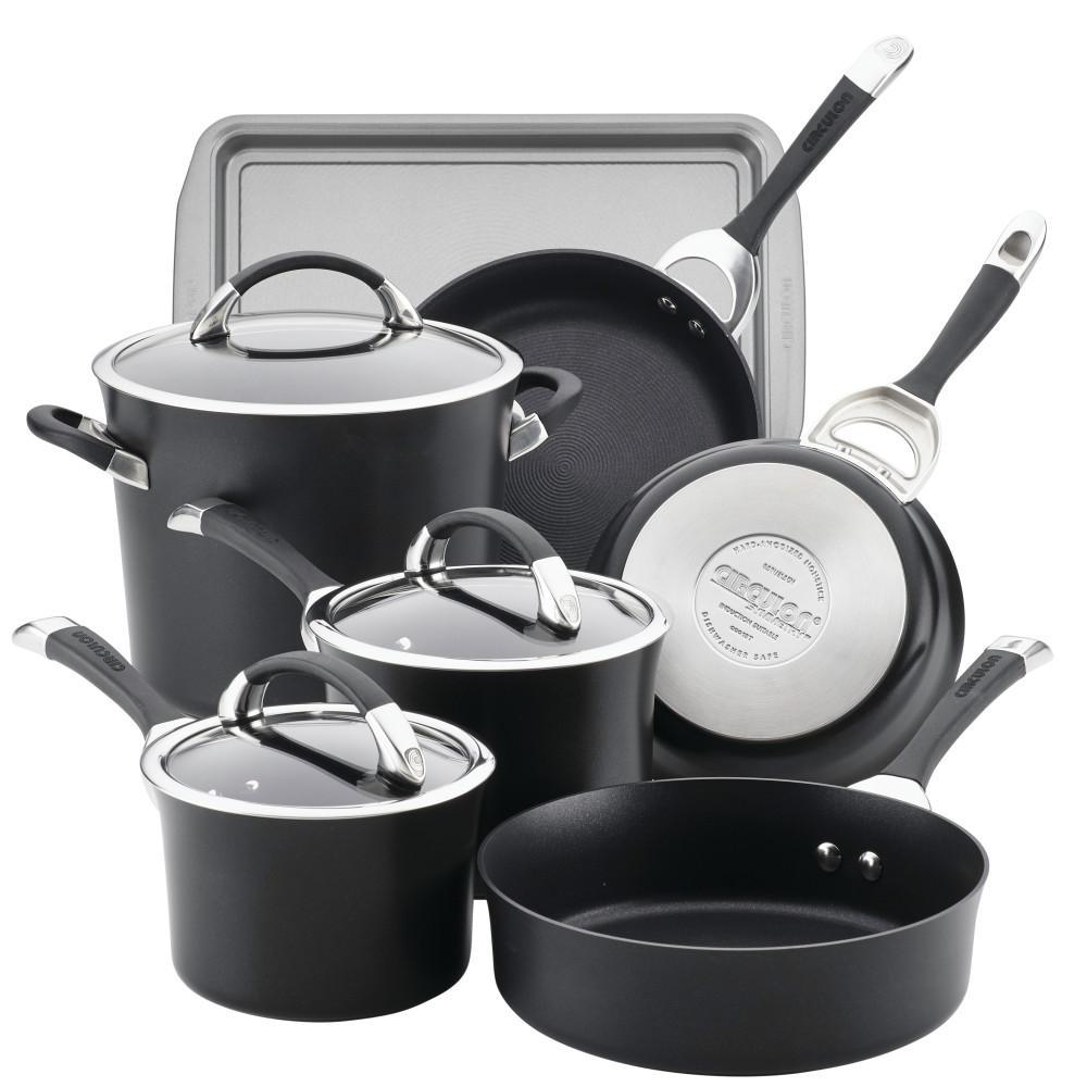 Symmetry 9-Piece Black Hard Anodized Nonstick Cookware Set Plus Bonus Bakeware