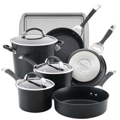 Symmetry 9-Piece Black Hard Anodized Nonstick Cookware Set Plus Bonus Bakeware
