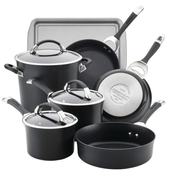 Circulon Symmetry 9-Piece Black Hard Anodized Nonstick Cookware Set Plus Bonus