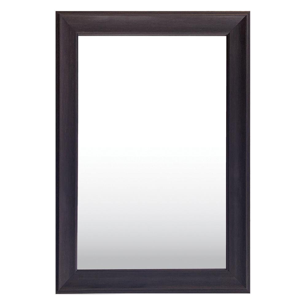 Medium Rectangle Dark Wood Tone Hooks Contemporary Mirror (30 in. H x 42 in. W)