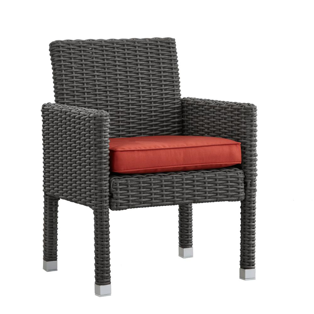 Camari Charcoal Arm Wicker Outdoor Dining Chair With Red Cushion Set Of 2