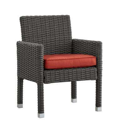 Camari Charcoal Arm Wicker Outdoor Dining Chair with Red Cushion (Set of 2)