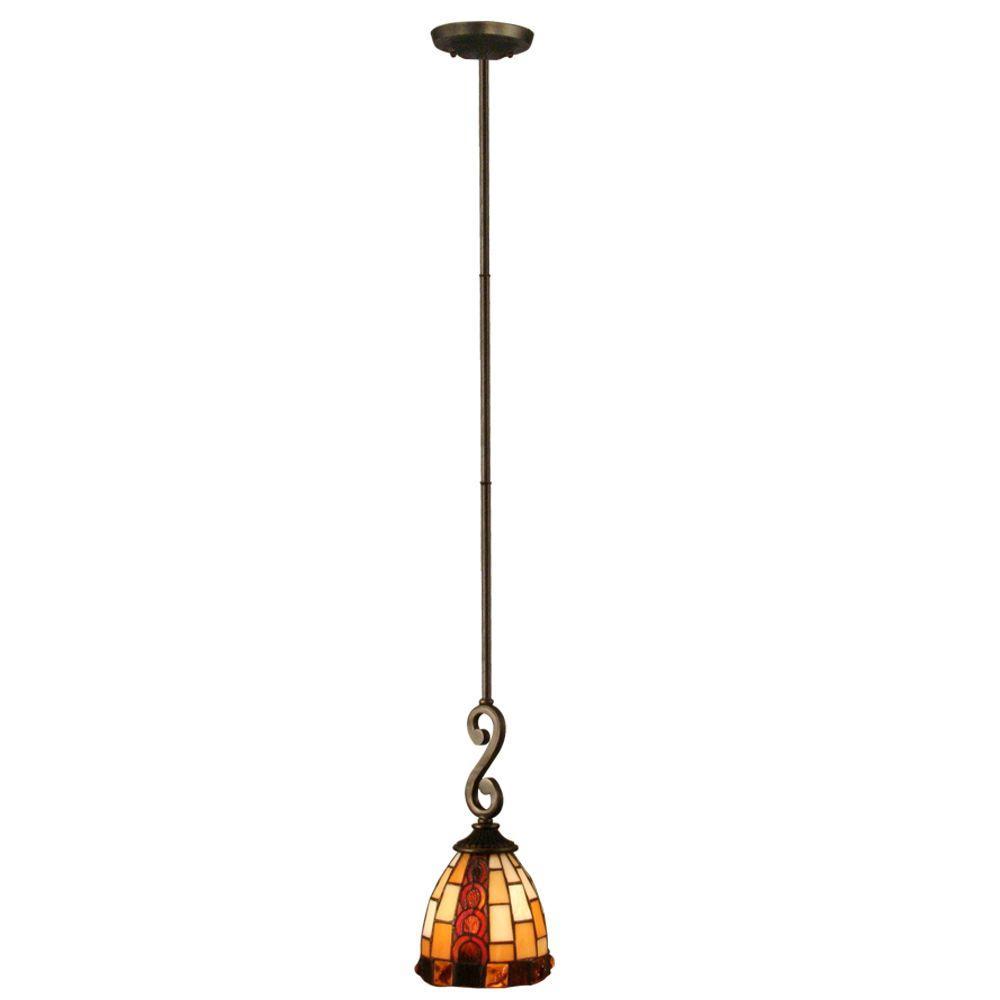 Dale Tiffany Baroque 1-Light Antique Bronze Hanging Mini Pendant Lamp