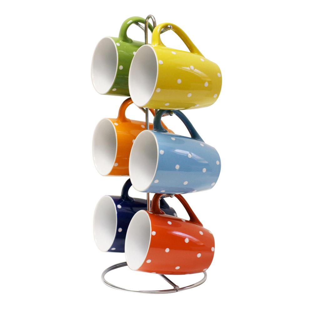 11 oz. Stoneware Mug Set in Polka Dots with Stand