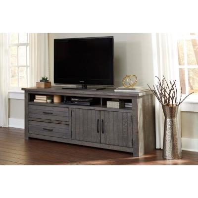 Nest 74 in. Distressed Dark Gray Wood TV Stand with 2 Drawer Fits TVs Up to 80 in. with Storage Doors