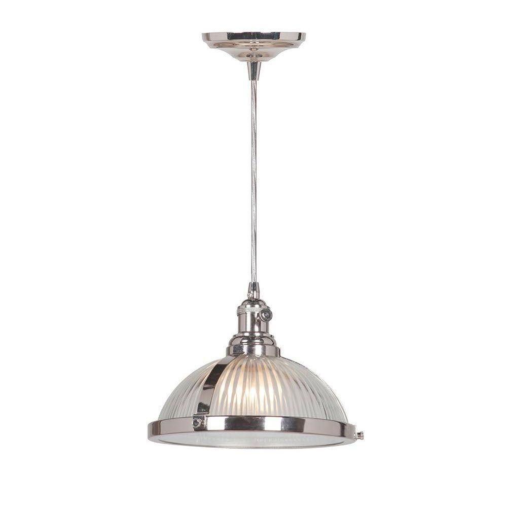 Home Decorators Collection Hampton 1 Light Polished Nickel Pendant 2165910220 The Home Depot