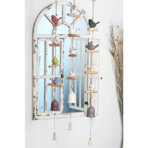 Multi-Colored Ceramic Petite Birds and Bells Wind Chimes (Set of 3) by