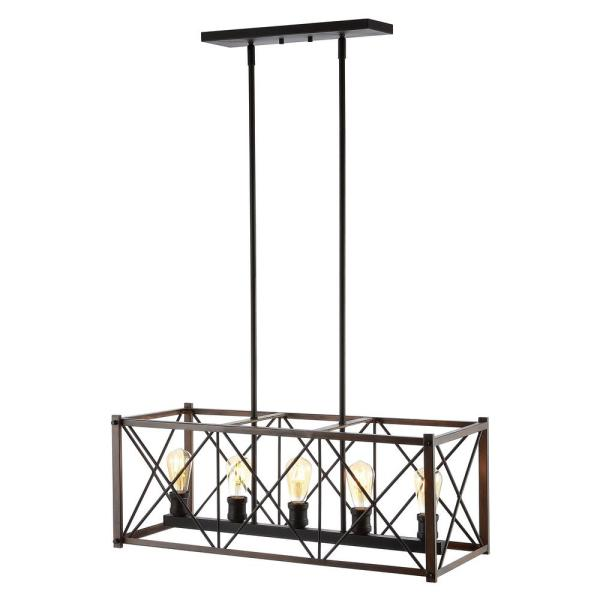 Galax 30 in. 5-Light Brown/Oil Rubbed Bronze Adjustable Iron Farmhouse Industrial LED Dimmable Pendant