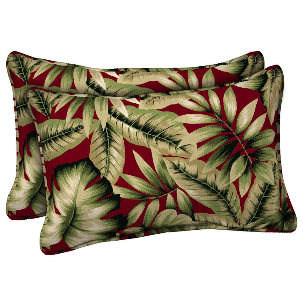 Hampton Bay Chili Tropical Outdoor Lumbar Pillow (2-Pack)