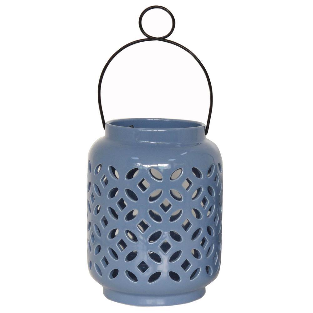 8.5 in. Denim Ceramic Lantern