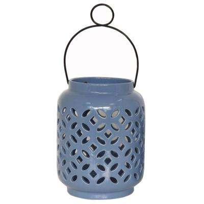 8.5 in. Ceramic Lantern in Denim