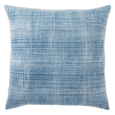 Tonquin Handmade Soild Blue/ White 22 in. Down Throw Pillow
