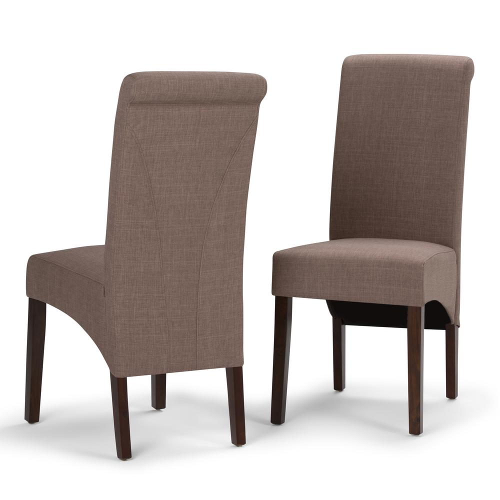Simpli Home Avalon Light Mocha Polyester Parsons Dining Chair (Set Of 2)
