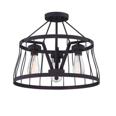 Brooklyn 3-Light Bronze Semi-Flush Mount/Pendant