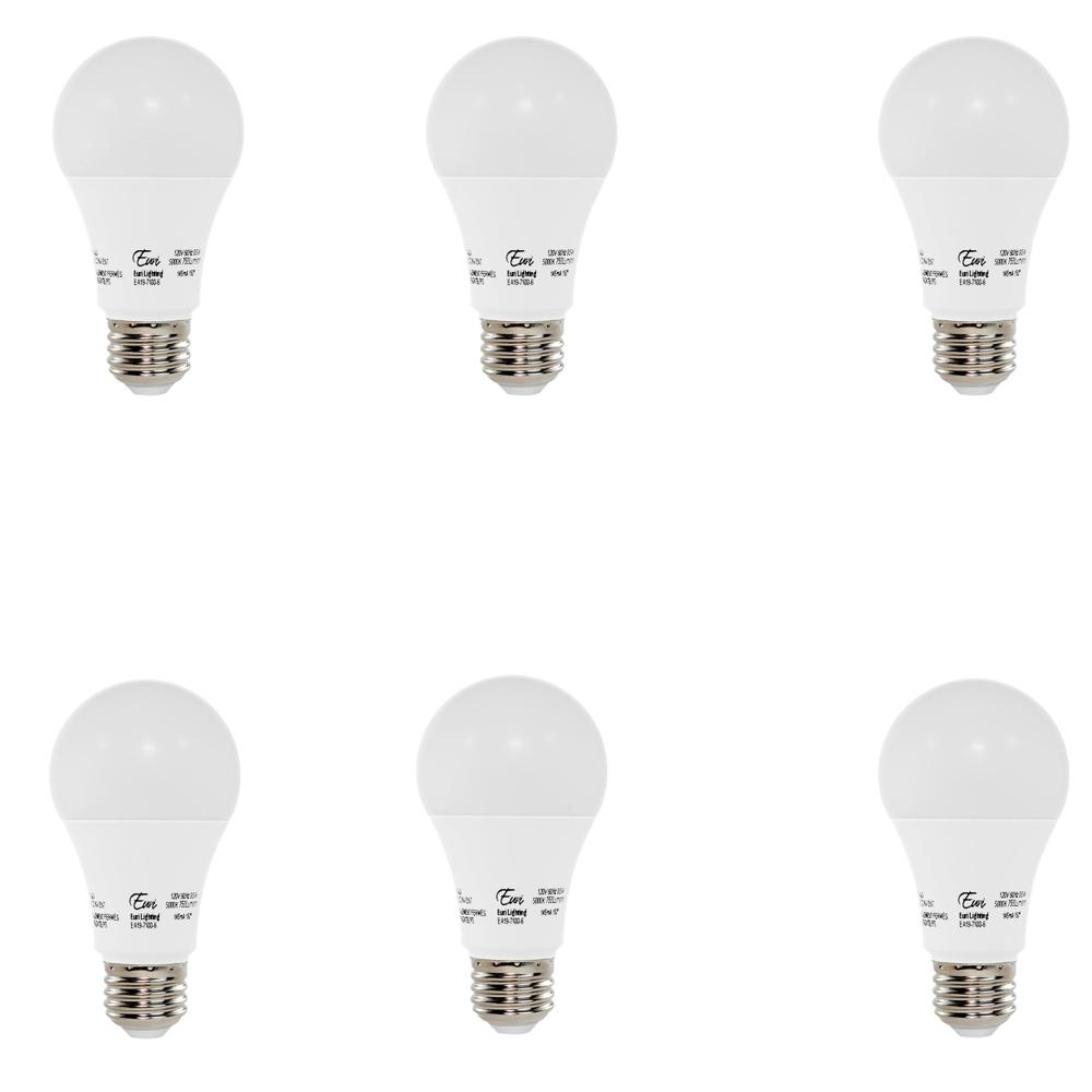 60W Equivalent Soft White (3000K) A19 LED Light Bulb (6-Pack)