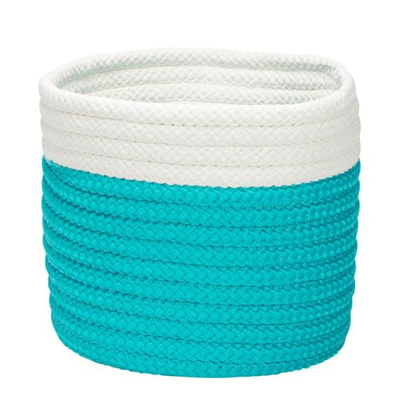 10 in. x 10 in. x 8 in. Turquoise Dipped Mini Round Polypropylene Basket