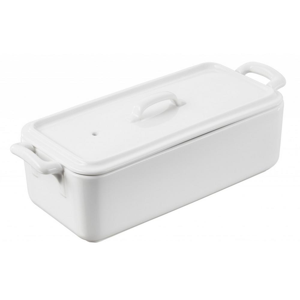 Belle Cuisine 21 oz. Rectangular Porcelain Terrine with Lid in White