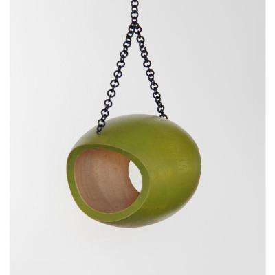 6 in. Green Mango Wood Oval Fly Through Feeder
