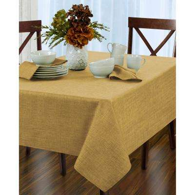 60 in. W x 84 in. L Oblong Gold Elrene Pennington Damask Fabric Tablecloth