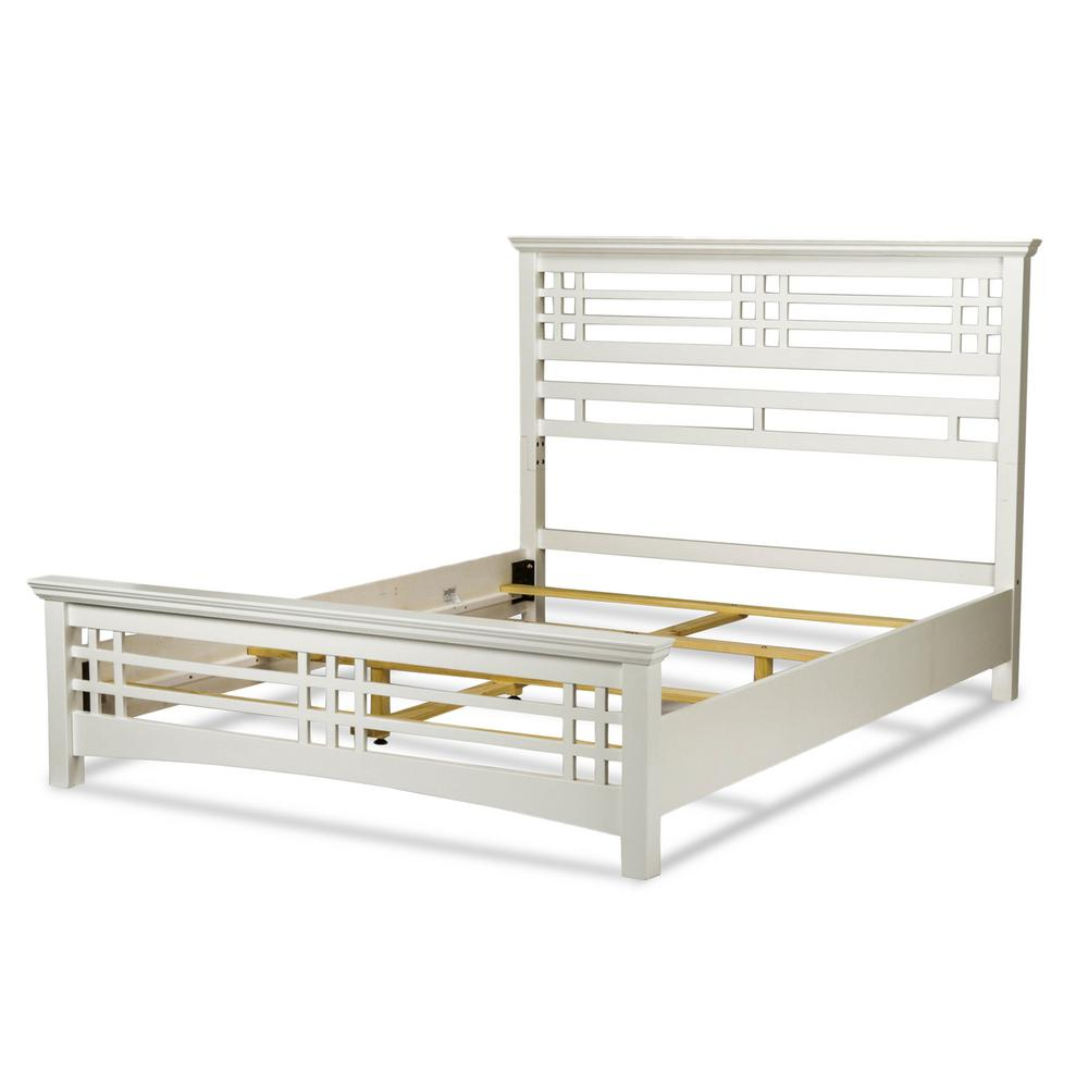 Avery Cottage White King Complete Bed with Wood Frame and...