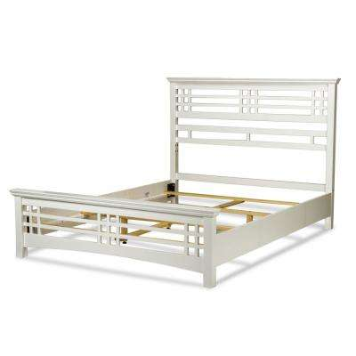 Avery Cottage White King Complete Bed with Wood Frame and Mission Style Design