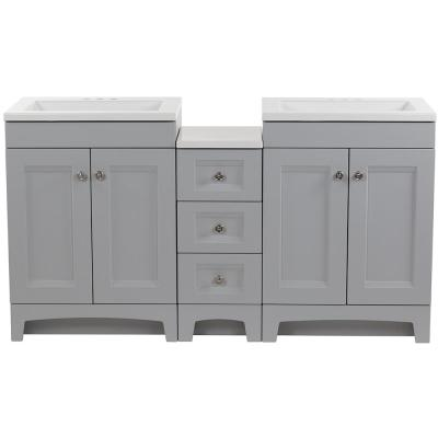 Delridge Bath Suite with Two 24 in. Vanities Vanity Tops and Drawer Base in Pearl Gray