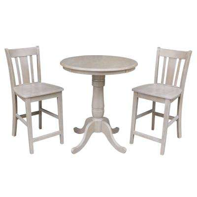 Laurel 3-Piece Weathered Taupe Gray Counter Height Dining Set