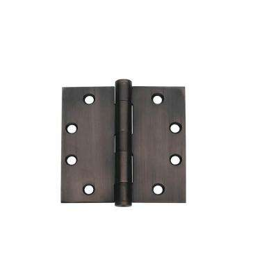 4.5 in. x 4.5 in. Oil Rubbed Bronze Plain Bearing Steel Hinge (Set of 3)