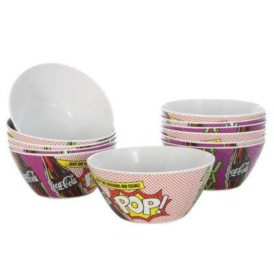 Pop Art Multi-Color Break Resistant Cereal Bowl (Set of 12)