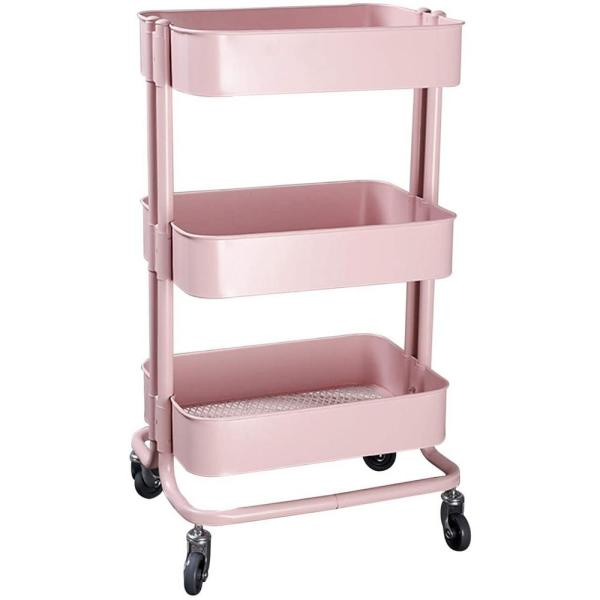 17.7 in. x 13.7 in. x 31.1 in. 3-Tier Metal Mobile Utility Cart in Pink