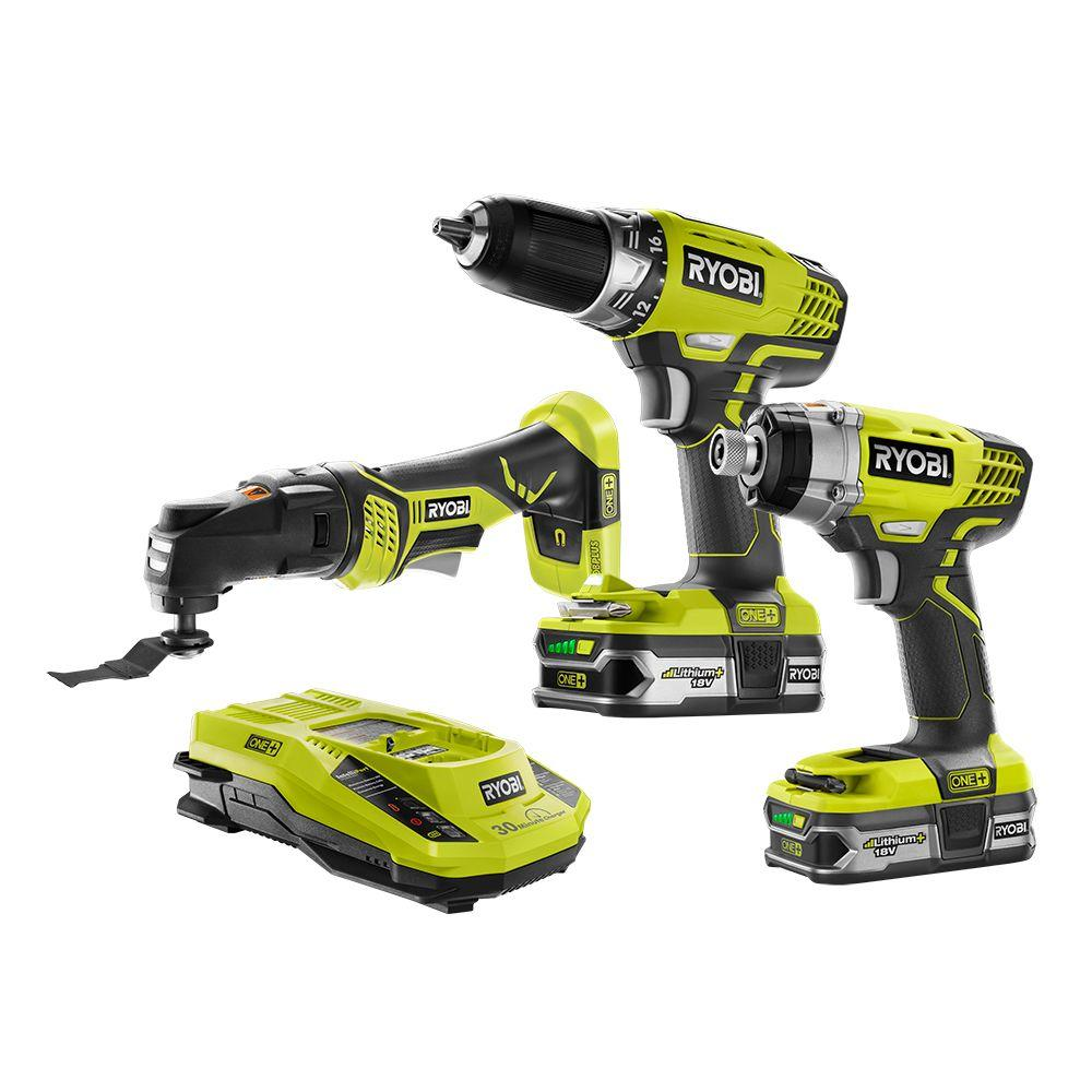 ryobi 18 volt one lithium ion cordless combo kit 3 tool p1876 the home depot. Black Bedroom Furniture Sets. Home Design Ideas