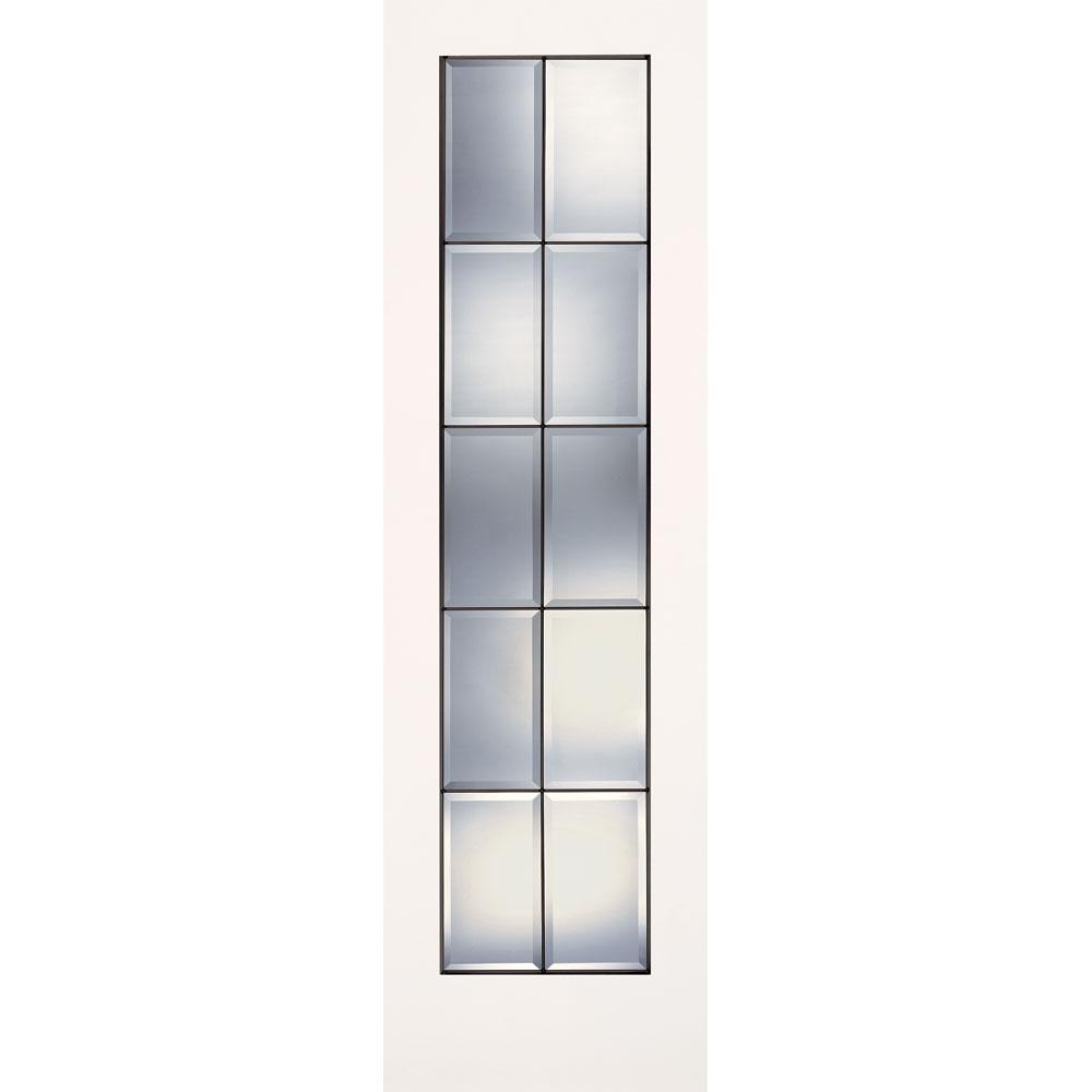 Feather River Doors 24 in. x 80 in. 10 Lite Clear Bevel Patina Smooth Primed MDF Interior Door Slab