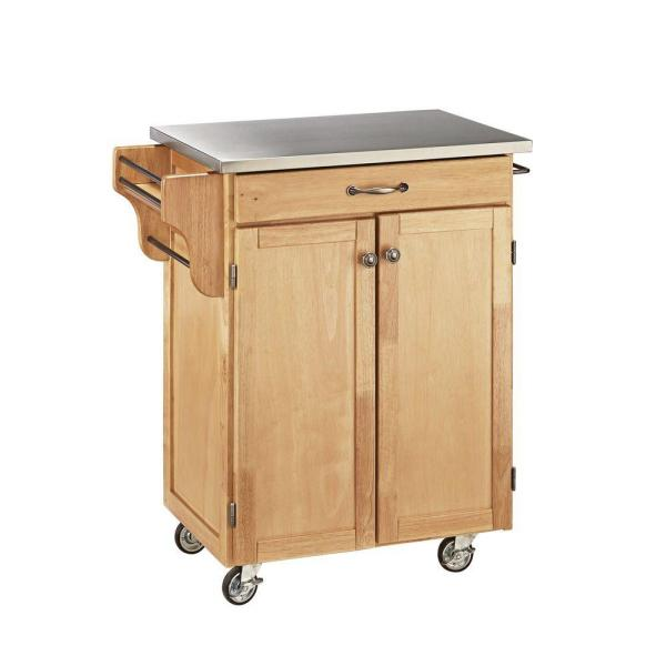 Create-a-Cart Natural Kitchen Cart With Stainless Steel Top