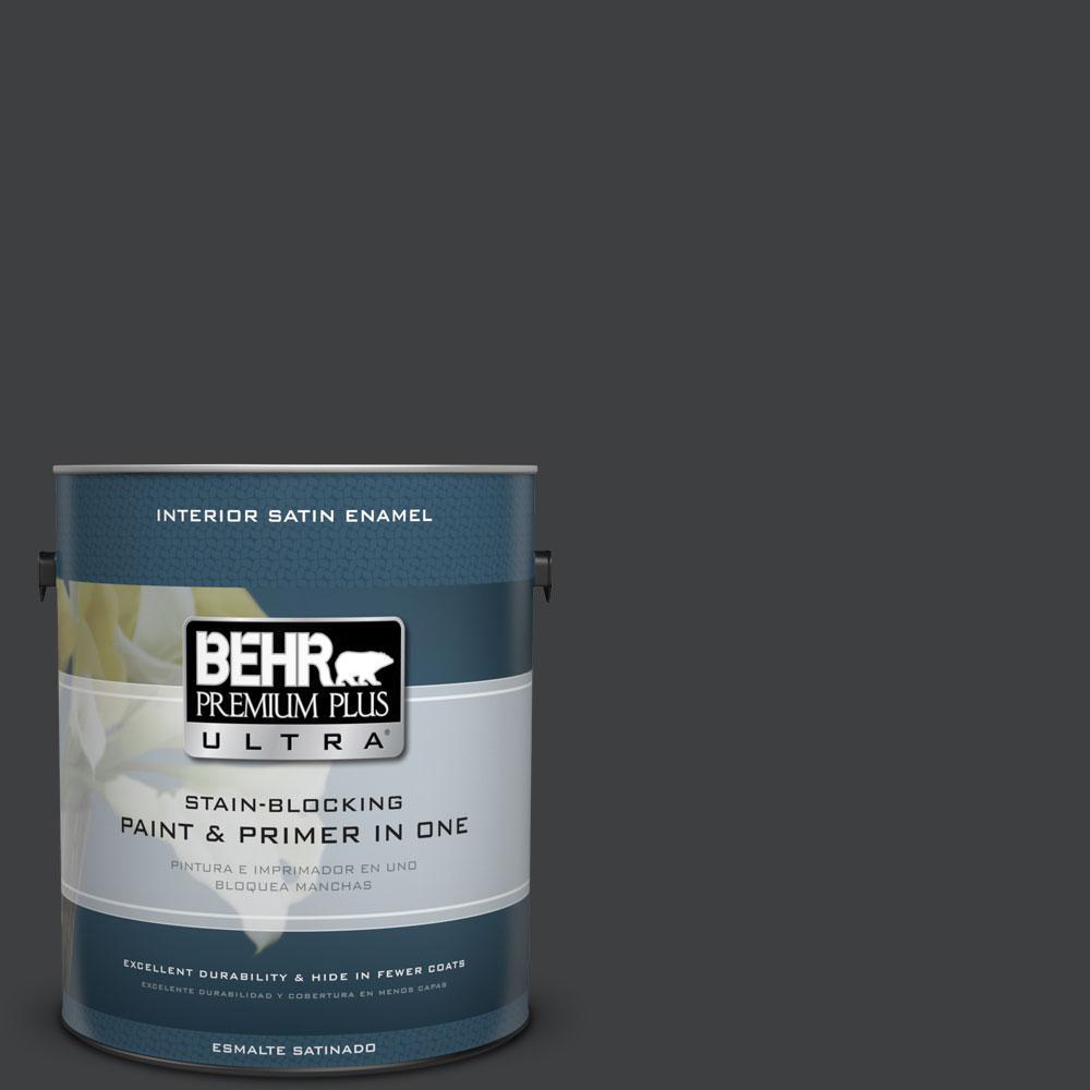 BEHR Premium Plus Ultra Home Decorators Collection 1-gal. #HDC-MD-04 Totally Black Satin Enamel Interior Paint