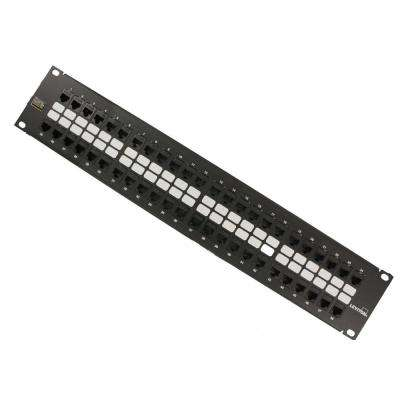 GigaMax 48-Port QuickPort Cat 5e 2RU Patch Panel with Cable Management Bar, Black