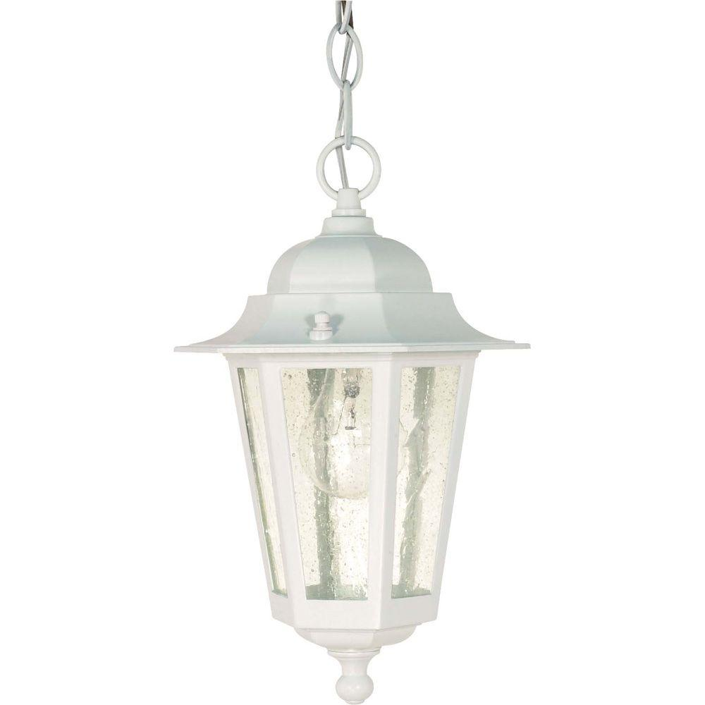 Glomar 1 Light Outdoor White Incandescent Pendant