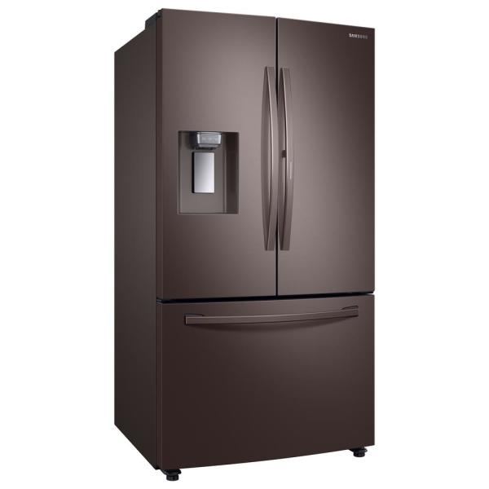 Samsung 28 Cu Ft 3 Door French Door Refrigerator In Tuscan Stainless Steel With Food Showcase Door Rf28r6301dt The Home Depot