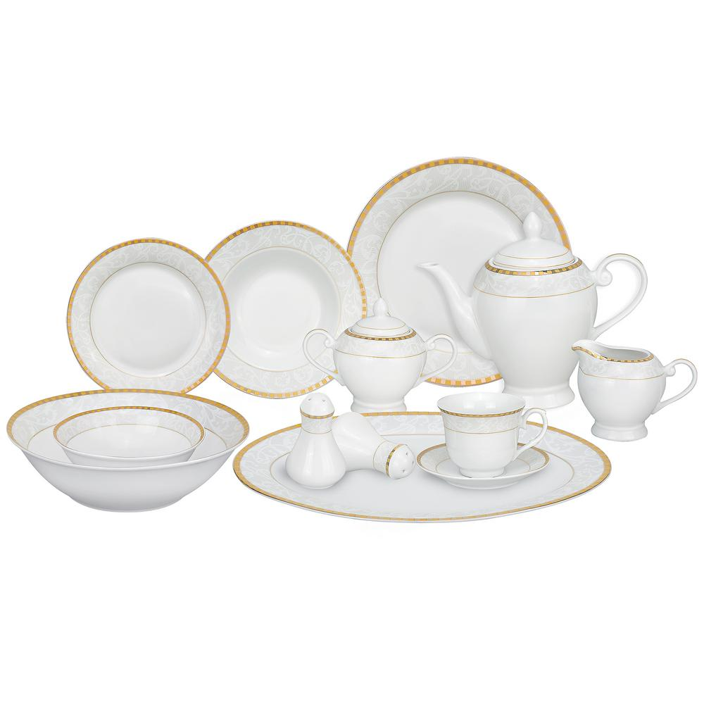 cddc3100521c4 Lorren Home Trends 57-Piece Gold Porcelain Dinnerware Set-Ricamo-GD ...